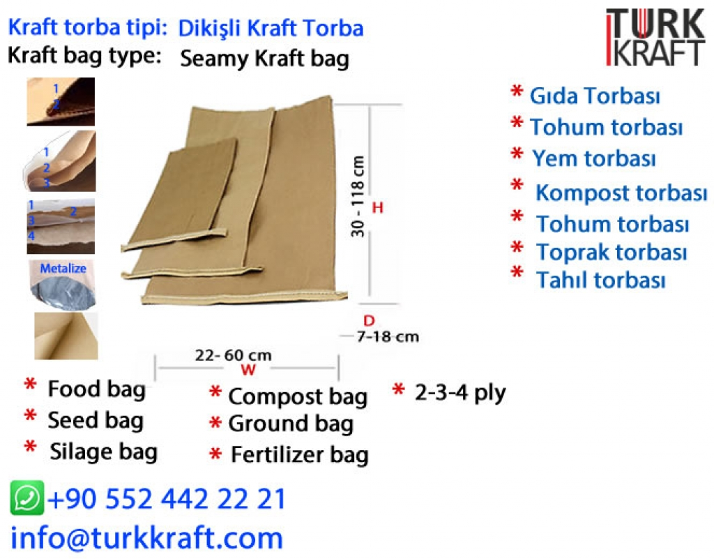 Dikişli Kraft Torba Kraft Torba