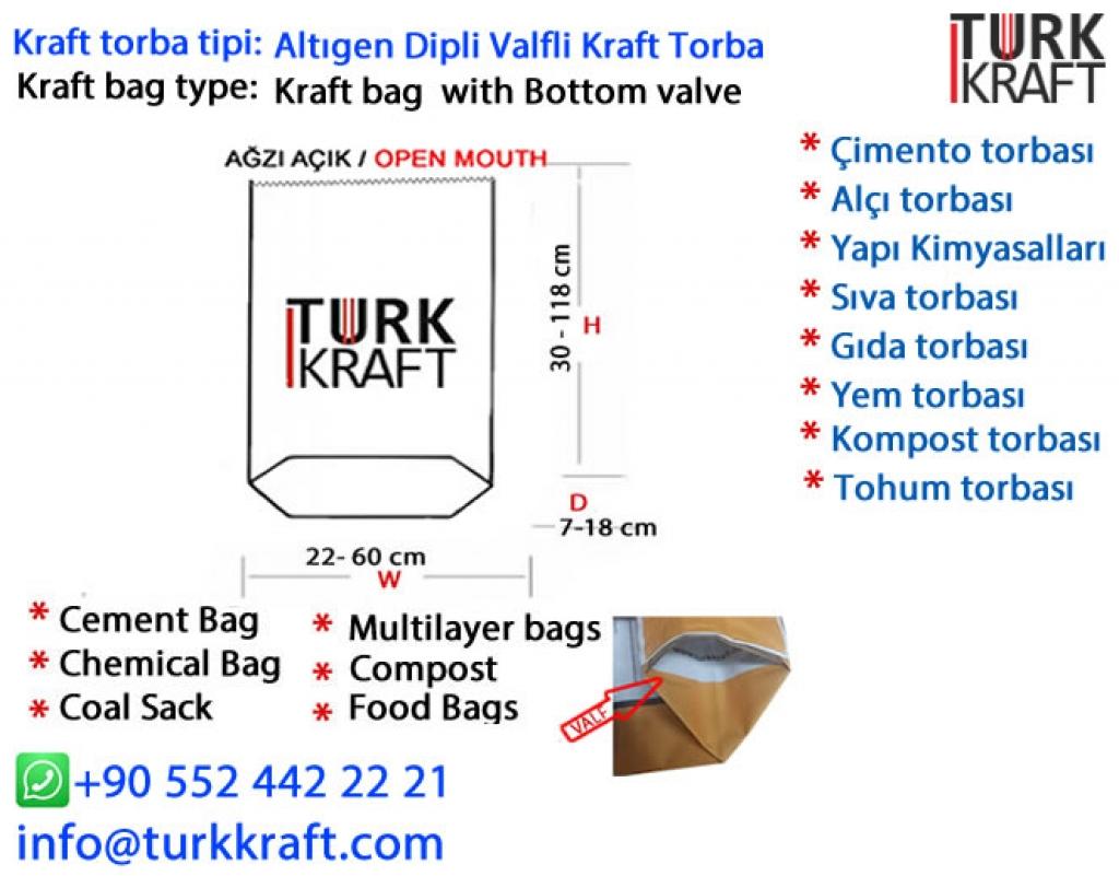 Ağzı Açık Çimento Torbası Kraft Torba