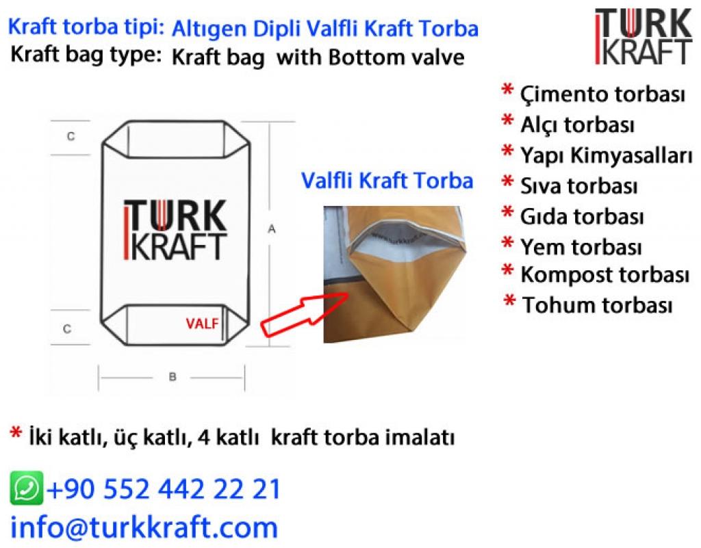 Valfli Çimento Torbası Kraft Torba