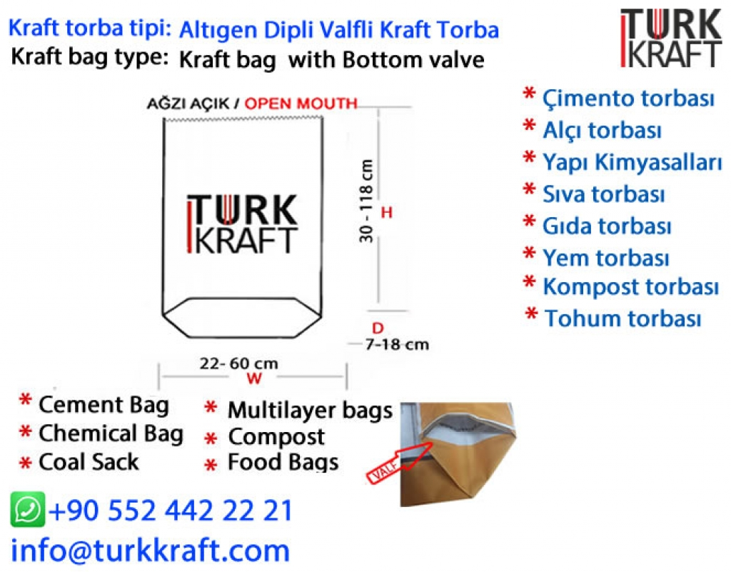 Kağıt Un Torbası Kraft Torba