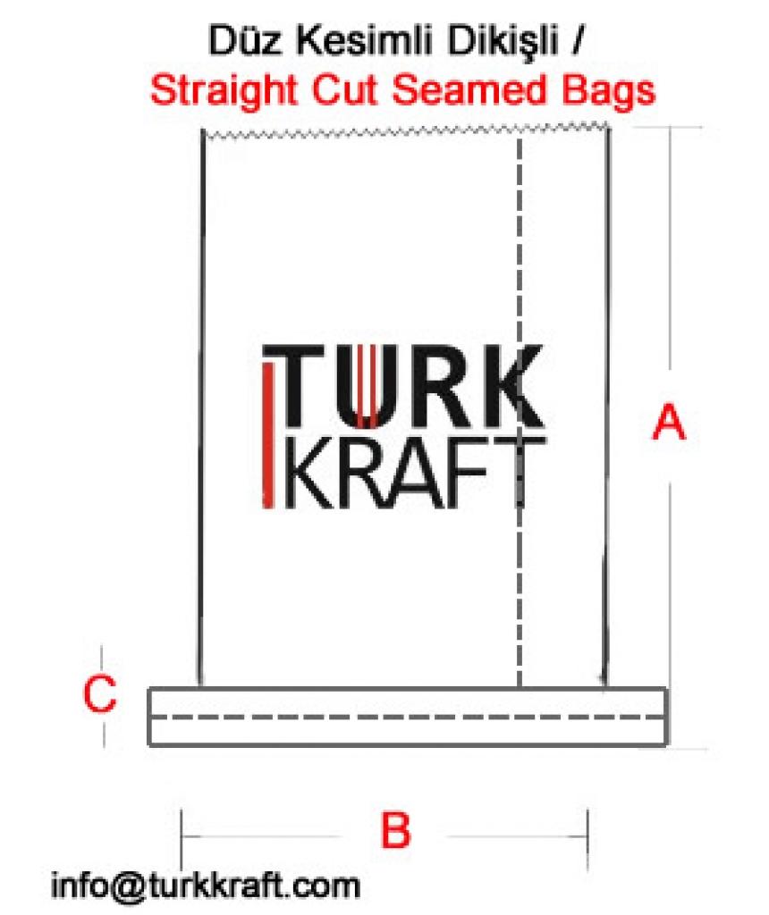 Düz Kesimli Dikişli Kraft Torba Kraft Torba Kraft Kağıt Çimento Torbası